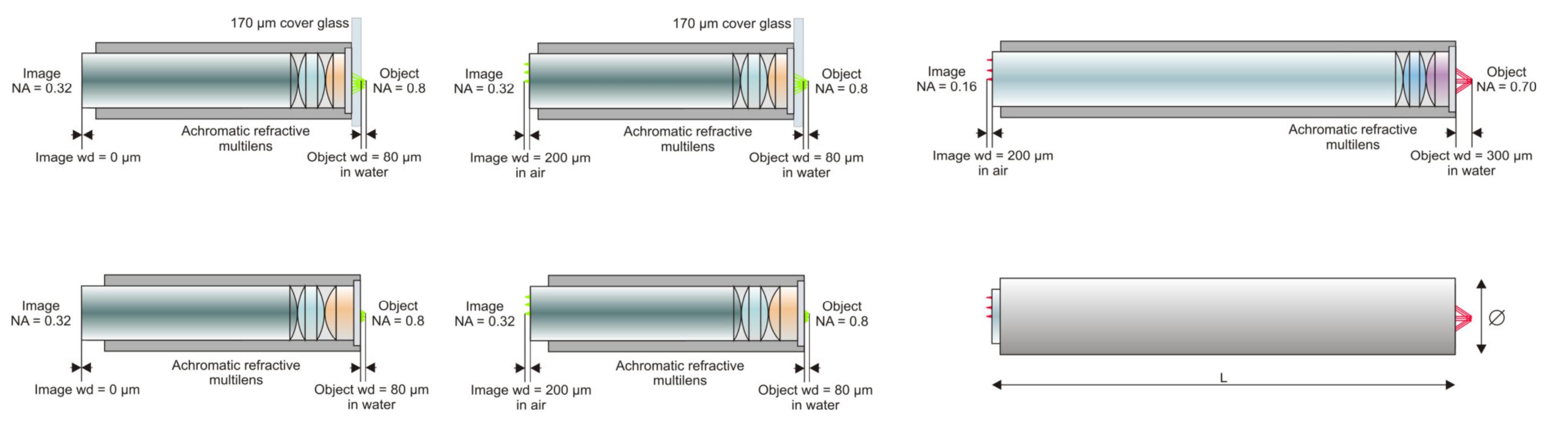 色および視野補正を用いた蛍光顕微鏡および2光子顕微鏡用高NA対物レンズ